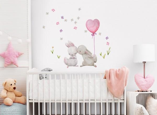 Little Deco Wandtattoo Küssende Hasen mit Luftballon Rosa Herzform DL230