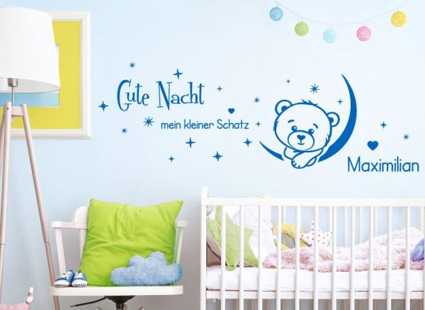Wandtattoo Gute Nacht mit Wunschname + Teddy Mond G186