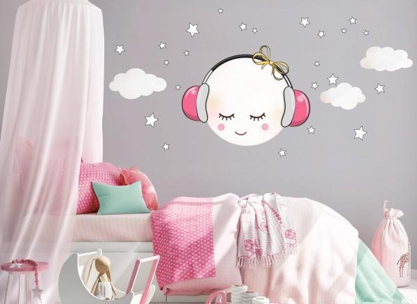 Little Deco Wandtattoo Mond mit Kopfhörer und Wolken Weiß / Rosa DL269