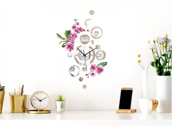 Design Wanduhr Spiegelglas mit Blumendesign DL425
