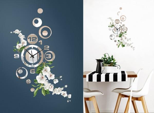 Design Wanduhr Spiegelglas mit Blumendesign DL416