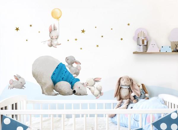 Little Deco Wandtattoo Eisbär & Hasen mit Ballon Gelb DL235