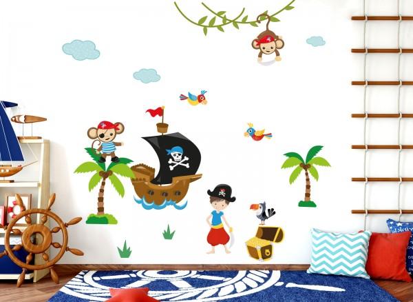 Little Deco Wandtattoo Affen Piraten Schiff DL205