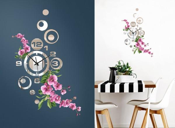 Design Wanduhr Spiegelglas mit Blumendesign DL418