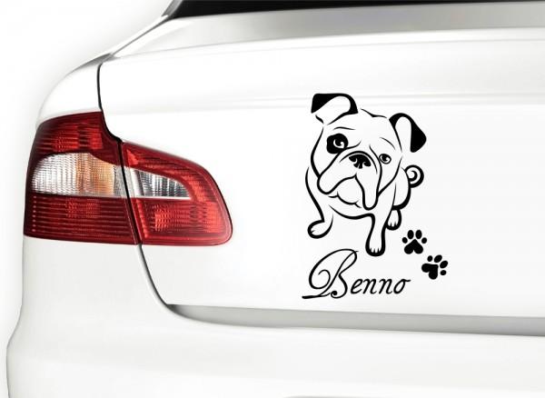 Autoaufkleber Bulldogge mit Wunschnamen + Pfoten X7046