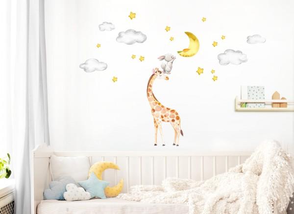 Little Deco Wandtattoo Giraffe Hase Mond und Sterne DL465