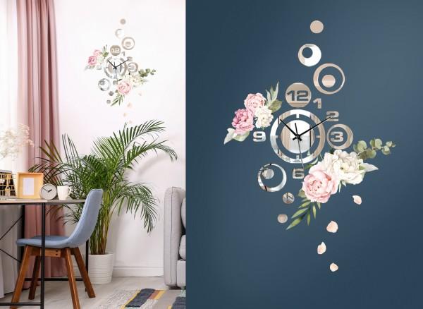 Design Wanduhr Spiegelglas mit Blumendesign DL419