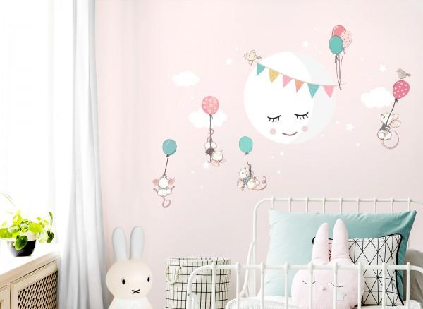 Little Deco Wandtattoo Mond Wolken Mäuse & Ballons DL436