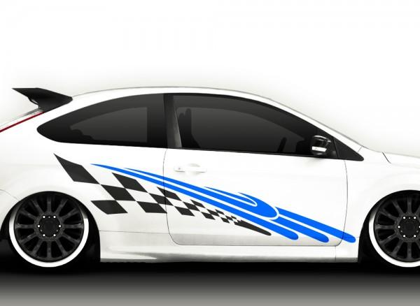 Autoaufkleber 2er Set Racingstyle 2-farbig X7030