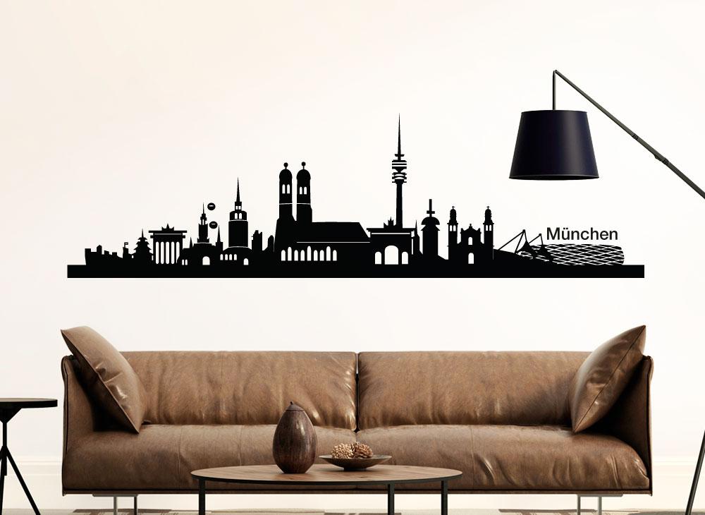 wandtattoo m nchen skyline g139 panoramen skylines wandtattoos nach themen wandtattoos. Black Bedroom Furniture Sets. Home Design Ideas