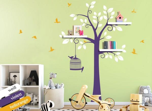 Wandtattoo 3-farbiger Baum mit Vögeln weiß / violett / hellorange W1336