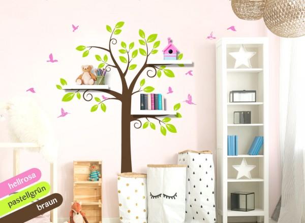 Wandtattoo 3-farbiger Baum mit Vögeln hellrosa / pastellgrün / braun W1342