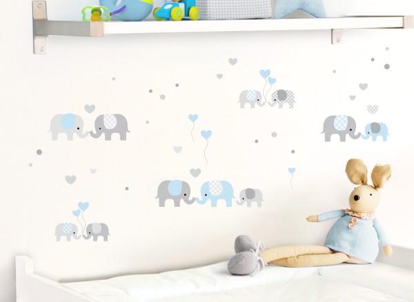 Little Deco Wandtattoo Elefanten Grau / Blau DL334