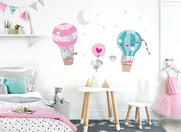 Little Deco Wandtattoo Tiere im Heißluftballon DL512