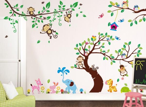 Wandtattoo XXL Premium Set Baum Äste Affen Tiere W5366