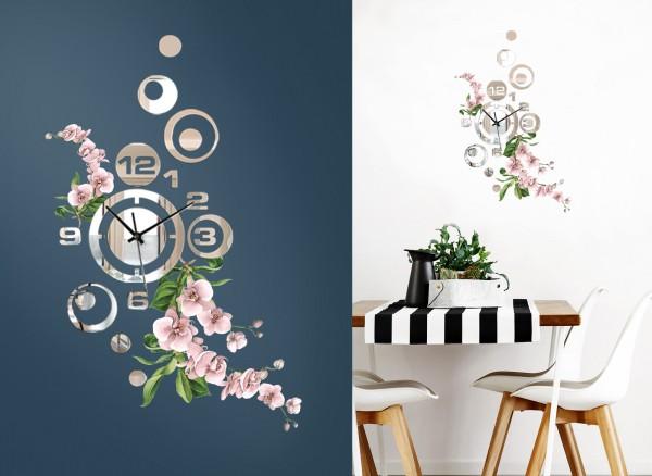 Design Wanduhr Spiegelglas mit Blumendesign DL417