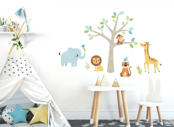 Little Deco Wandtattoo Safari Dschungeltiere & Baum DL514