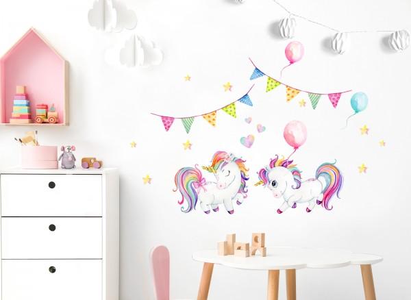 Little Deco Wandtattoo Einhörner mit Ballons & Herzen DL533