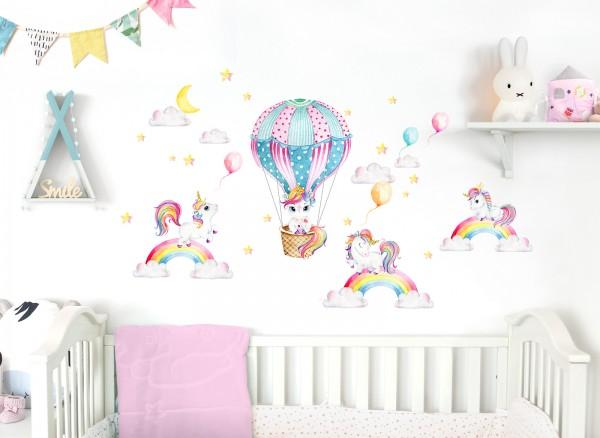 Little Deco Wandtattoo Einhörner mit Regenbogen & Heißluftballon DL532