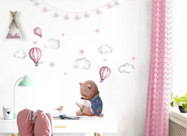 Little Deco Wandtattoo Bär und Hase mit Heißluftballons DL604