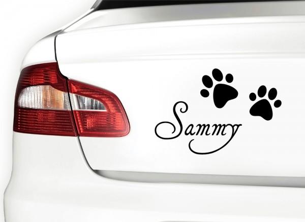 Autoaufkleber Wunschname + 2 Hundepfoten X7054