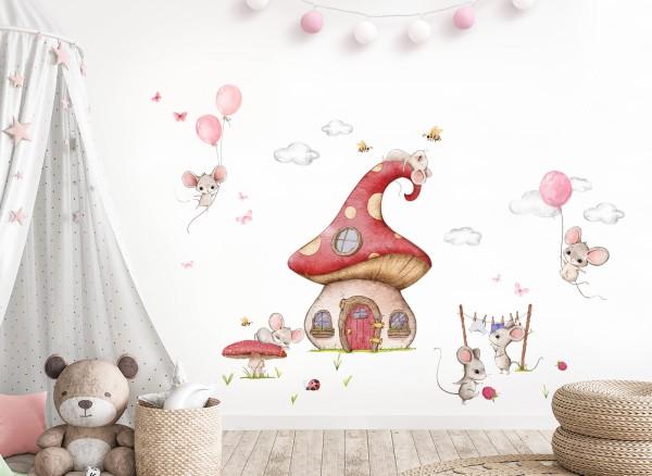 Little Deco Wandtattoo Mäuse und Pilzhaus DL740