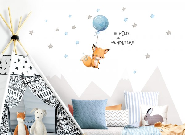 Little Deco Wandtattoo Sei wild & Fuchs mit Luftballon DL316