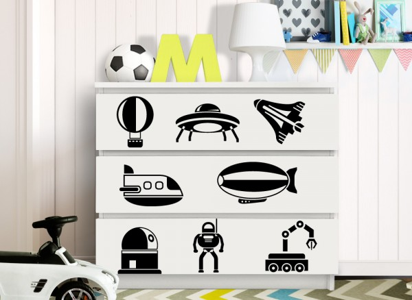 Wandtattoo Space Flugzeuge passend für IKEA HEMNES und MALM Kommode W5249