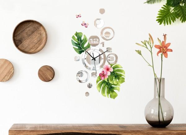 Design Wanduhr Spiegelglas mit Blumendesign DL420