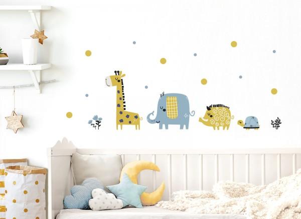 Little Deco Wandtattoo Safaritiere Schwein Elefant Giraffe Schildkröte DL308
