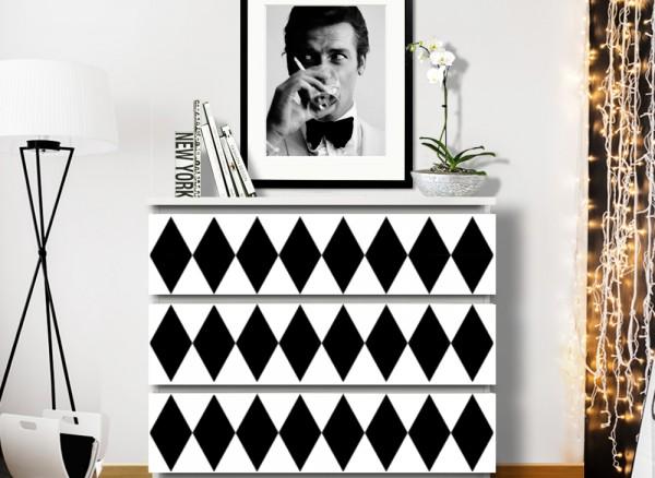 Wandtattoo Karos Stil 2 passend für IKEA HEMNES und MALM Kommode W5254
