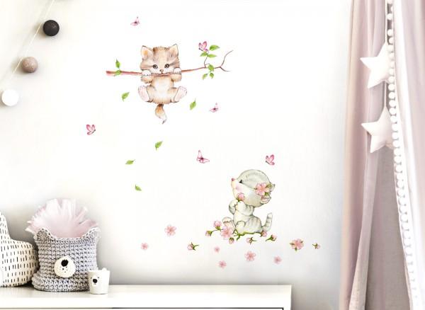 Little Deco Wandtattoo 2 Katzen mit Schmetterlingen DL361