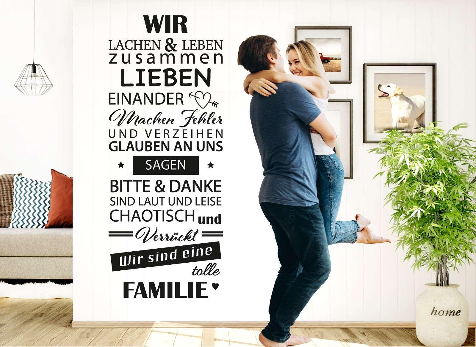 Großartig Wandtattoo Anbringen Foto Von Spruch Wir Sind Eine Tolle Familie W5385