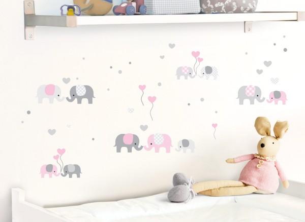Little Deco Wandtattoo Elefanten Grau / Rosa DL336