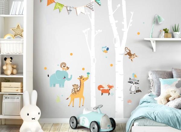 Little Deco Wandtattoo Tiere & weiße Birkenstämme DL545