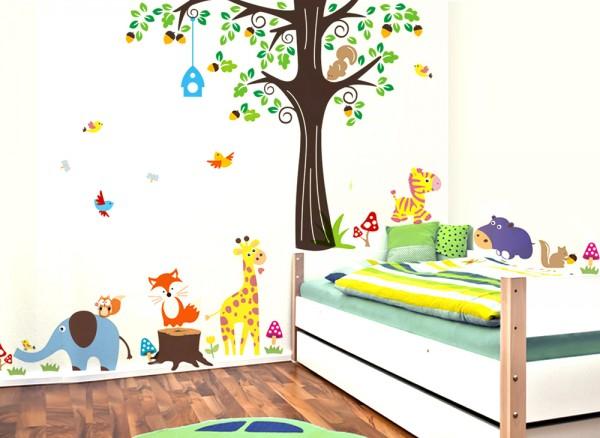 Wandtattoo XXL Premium-Set Baum Giraffe Fuchs W5378