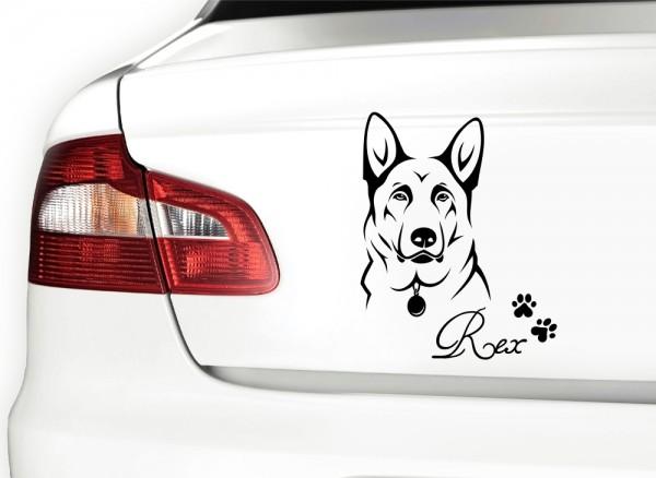 Autoaufkleber Schäferhund mit Wunschnamen + Pfoten X7043