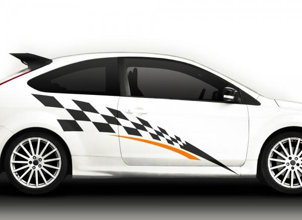 2er Set 2-farbiger Autoaufkleber Racingstyle X7042