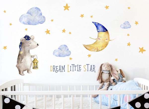 Little Deco Wandtattoo Dream Little Star Bär Mond & Sterne DL196
