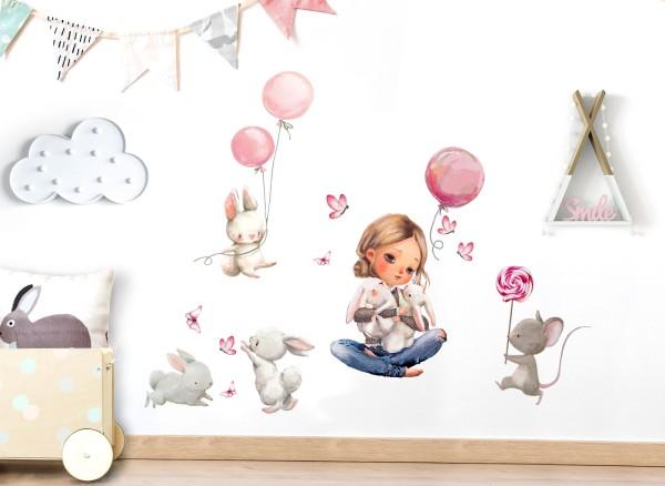 Little Deco Wandtattoo Mädchen & Hase mit Luftballons DL677