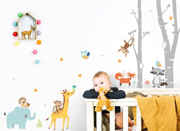 Little Deco Wandtattoo Tiere & graue Birkenstämme DL544