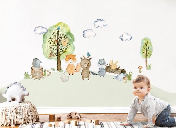 Little Deco Wandtattoo Waldtiere mit Bäume Pilze und Gras DL450