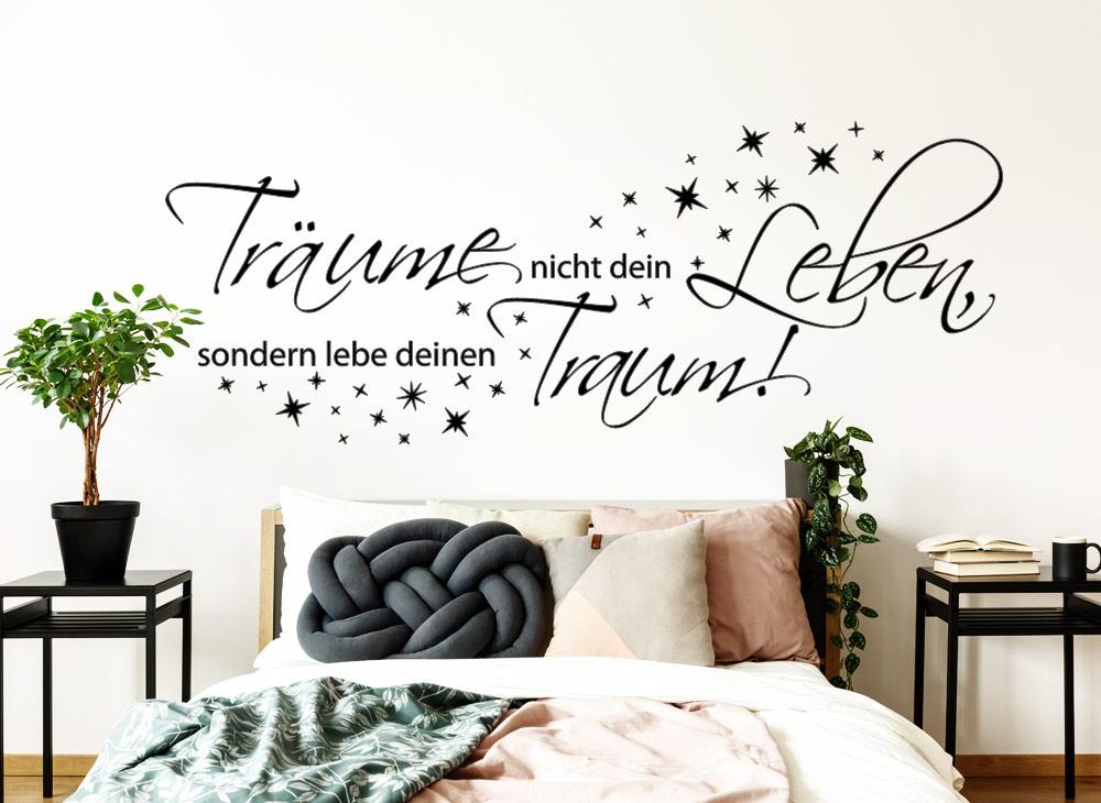 wandtattoo tr ume nicht dein leben sondern lebe deinen traum w5374 spr che zitate. Black Bedroom Furniture Sets. Home Design Ideas