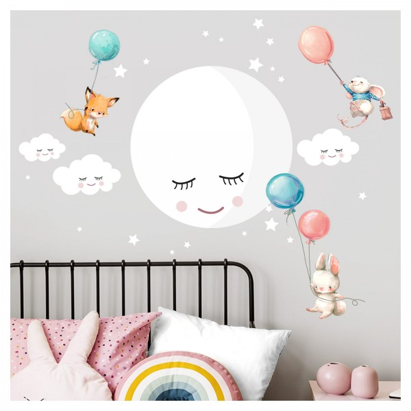 Little Deco Wandtattoo Mond Wolken Tiere Ballon blau rosa DL434